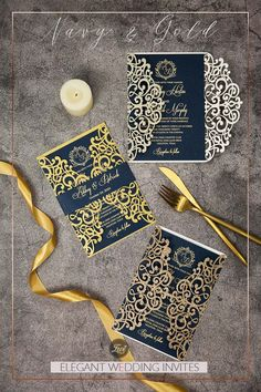 The gold laser cut wrap hugs the sides of this classic invitation paired with a monogram pattern and finished with a foil navy belly band topped with your names. This invitation has everything you need for your glamorous wedding.