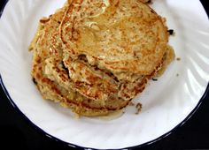 Oatmeal-Cinnamon Pancakes - Rolled oats help in giving these pancakes a hearty, nutty flavor. Serve them with natural peanut butter and or almond butter and maple syrup or agave syrup for a fabulous breakfast that is filling and delicious!
