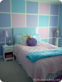Girls bedroom paint ideas stripes squares and stripes paint tutorial measurements home bar decorations uk Blue Bedroom, Girls Bedroom, Bedroom Decor, Bedroom Ideas, Bedroom Wall Designs, Room Girls, Master Bedroom, Girls Room Paint, Kids Bedroom Paint