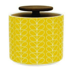 Bright retro storage jars by Orla Kiely. Free UK delivery on all orders over Shop the entire Orla Kiely homeware range at Unique & Unity. Storage Canisters, Jar Storage, Kitchen Storage, Food Storage, Orla Kiely, Yellow Storage, Enamel Cookware, Sugar Jar, House