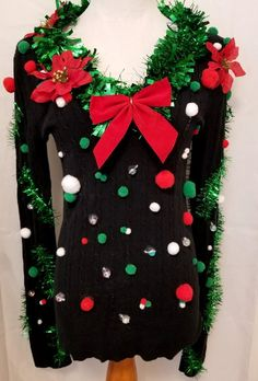 Your place to buy and sell all things handmade Making Ugly Christmas Sweaters, Christmas Tee Shirts, Ugly Christmas Sweater Women, Tacky Christmas, 25 Days Of Christmas, Christmas Stuff, Ugly Sweater Party, Sweater Embroidery, Purple Haze