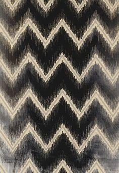 """Shock Wave"" // chevron design, silver - black silk velvet fabric for Schumacher #fabric #chevron #black #silver"