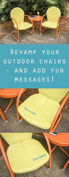 I used spray paint to revamp a set of outdoor chairs - AND I added fun messages to the seats! Find out how I did it by clicking through.