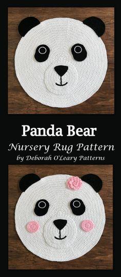 Crochet Rug Pattern - Panda Bear Nursery Rug Pattern - - by Deborah O'Leary Patterns : Crochet Rug Pattern – Panda Bear Nursery Rug Pattern – – by Deborah O'Leary Patterns by DeborahOLearyPattern Crochet Panda, Crochet Bear, Cute Crochet, Baby Blanket Crochet, Crochet For Kids, Crochet Dolls, Crochet Pouch, Crochet Elephant, Bear Nursery