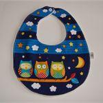 Handmade Baby Bib - Night time Owls