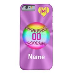 Barely There iPhone 6 case, 4.7 inch screen, custom made with heart and initial ~ special colors, radiant and vibrant!  Add your jersey number and name, initial optional!  Stylish! Impact resistant, with access to all features.  Click Here:  http://www.zazzle.com/softball_iphone_6_cases_your_name_number_monogram-179398636754149401 For more girls' softball and sports gifts, even personalizing team colors, visit Linda's shop CLICK HERE…