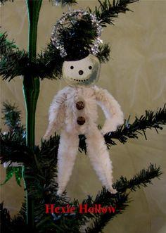 Folk Art Primitive Snowman Vintage Type Chenille Christmas Ornament Handmade