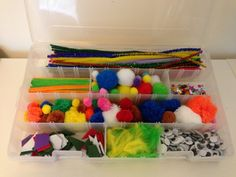 finishing tackle boxes with adjustable divides are great for storing kids arts and crafts supplies....especially those little bits you never know what to do with.