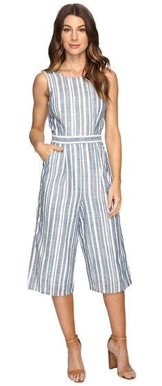 Brigitte Bailey Abacus Striped Cullote Jumper (Blue/White) Women's Jumpsuit & Rompers One Piece - Brigitte Bailey, Abacus Striped Cullote Jumper, LV7S2791-457, Apparel One Piece Jumpsuit & Rompers, Jumpsuit & Rompers, One Piece, Apparel, Clothes Clothing, Gift - Outfit Ideas And Street Style 2017