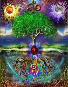 Tree of Life - artist Paul Zulauf Tree Of Life Art, Tree Art, Hippie Art, Visionary Art, Flower Of Life, Psychedelic Art, Fractal Art, Sacred Geometry, Trees To Plant