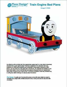 Thomas Train Engine Twin Bed Woodworking Project Plans / Do It Yourself, Detail Drawings and Step-by- Step Instructions Included Woodworking School, Woodworking Projects That Sell, Learn Woodworking, Popular Woodworking, Woodworking Plans, Woodworking Furniture, Woodworking Logo, Woodworking Videos, Woodworking Jointer
