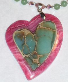 So Spectacular! Intarsia Heart With Rhodochrosite and Swarovski Crystals Pendant Necklace at NaomisNook