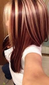burgundy hair blonde highlights - Google Search