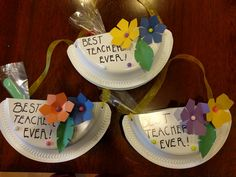Plastic plate baggies are great for holding  treats! These were made for teacher appreciation week, and make fun hanging letter or pencil holders afterwards!