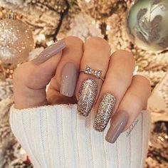 Mix and match gold glitter nude nail polish