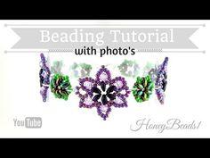 Easy Beaded Flower Bracelet Beading Tutorial by HoneyBeads1 (Photo tutorial with twin beads) - YouTube