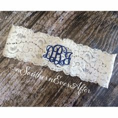MONOGRAMMED GARTER / KEEPSAKE only / Navy Blue Garter / lace garter / toss garter / Something Blue / vintage garter on Etsy, $24.99