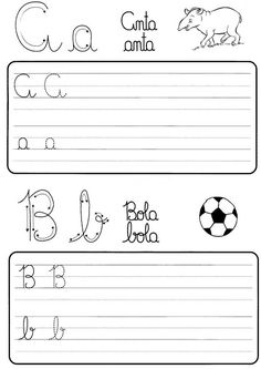 Atividade de caligrafia letras do alfabeto ilustrado - Como Fazer Teaching Cursive Writing, Barbie Paper Dolls, Marianne, Curriculum, 1, Gabriel, Jasmine, Letter B Activities, Preschool Literacy Activities