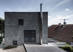 Cubed concrete house by Plusminus Architects built outside Bratislava.