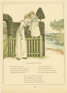 "Mother and daughter. ""My Little Girle"" poem, c. 1910. ~ Kate Greenaway"