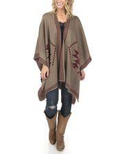Diamond Knit Poncho, Mocha - the best way to cozy up in style. #poncho #wrap