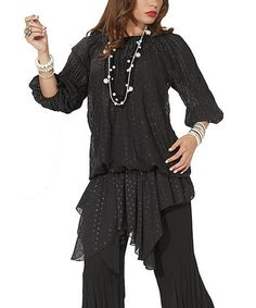 Black Crinkled Chiffon Blouson Tunic - Women & Plus #zulily #zulilyfinds by Love the Queen from Donna Vinci, $65 !!