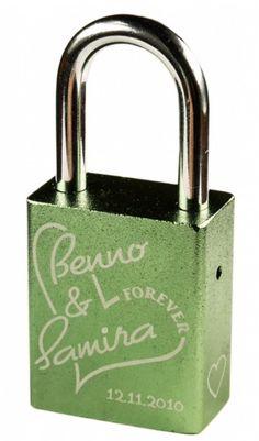 Grünes Liebesschloss graviert Personalized Items
