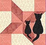 Clay's Choice quilt block with appliqued cats
