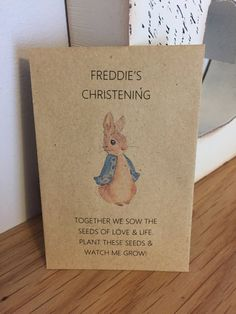 Personalised Seed Packets Flowers Christening Baptism Gift Favour Peter Rabbit Boy Girl