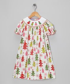 Take a look at this Pink & Green Tree Treats Bishop Dress - Infant, Toddler & Girls on zulily today!