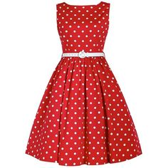 'Audrey' New Red Polka Dot Swing Dress ($50) ❤ liked on Polyvore featuring dresses, red, polka dot dress, circle skirt, polka dot swing dress, boatneck dress and red flared skirt