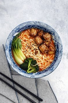 Curry Ramen with Crispy Baked Tofu: in about 30 minutes, create restaurant worthy ramen with a humble block of tofu and the remnants of your veggie drawer.