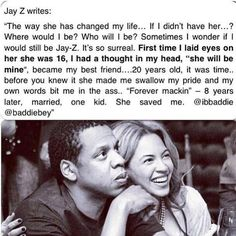 Jay-Z writes about Bey. I love these two together. <3