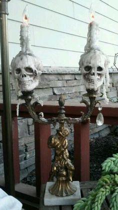 Halloween decor - modify an old lamp