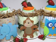 Mini Diaper Cake Duo(TM) Custom Theme Topped with Matching Washcloth Cupcake Washcloth Cupcakes, Diaper Cupcakes, Mini Diaper Cakes, Baby Washcloth, Diaper Cake Instructions, Baby Baskets, Gift Baskets, Free Diapers, Craft Projects