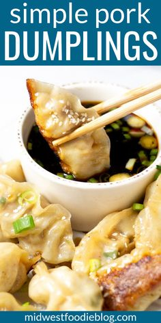Pan Fried Pork Dumplings Midwest Foodie Simple satisfying and loaded with flavor these pork dumplings will have your family asking for seconds Theyre crispy yet tender. Pork Recipes, Asian Recipes, Cooking Recipes, Healthy Recipes, Ethnic Recipes, Cleaning Recipes, Recipies, Japanese Food Recipes, Homemade Chinese Food