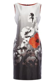 Poppy Print Floral Shift Dress - For summer occasion, wedding or evening party