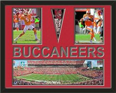 Two framed 8 x 10 inch Tampa Bay Buccaneers photos of Josh Freeman with a Tampa Bay Buccaneers mini pennant and small stadium panoramic, double matted in team colors to 28 x 22 inches.  BUCCANEERS* is cut into the top mat and shows the bottom mat color.  (Pennant design subject to change)  $159.99  @ ArtandMore.com
