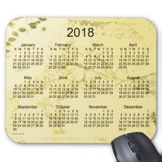 2018 Old Yellow Paint Calendar by Janz Mouse Pad