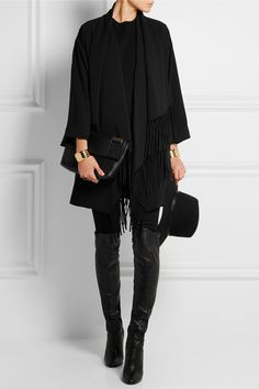 Elizabeth and James - Dolly fringed crepe coat Fashion Mode, Fashion Outfits, Womens Fashion, Casual Outfits, Winter Looks, Mode Cool, Style Noir, Street Style, Elizabeth And James