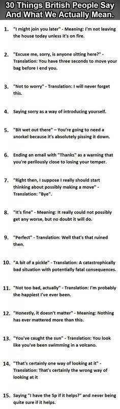 I'm pretty sure I'm British. Brit Humour: 30 Things British People Say Vs What They Actually Mean - Graphic (Part British Slang, British Memes, British Humour, British Vs American Funny, British Phrases, British English, British Comedy, British Things, British People