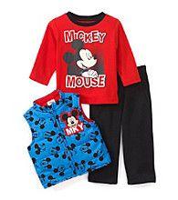 Nannette® Baby Boys 3-Piece Mickey Vest Set