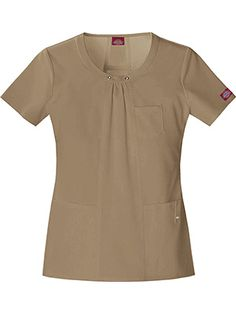The front and back stylized seams make this #scrubtop flattering. Color here: Khaki. Xtreme Stretch by Dickies Womens Junior Stylized Seam Solid Scrub Top.