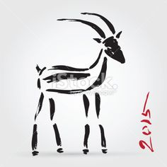 Goat 2015, New year Symbol. Royalty Free Stock Vector Art Illustration