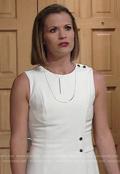13a954402589c8 Chelsea s white wrap dress with silver buttons on The Young and the Restless.  Outfit Details