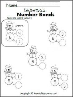 Free math worksheets for Kindergarten or Grade 1. Number bonds of 12 ...