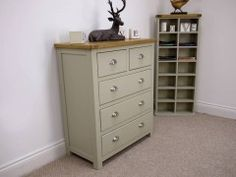 Aspen Painted Oak Sage Grey 2 Over 3 Chest Of Drawers #chestofdrawers