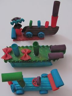 Colorful pasta sculptures with kids...and a glue gun! These are so cute.