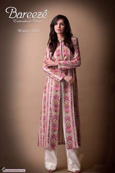 Latest Pakistani Fashion,Bollywood Fashion,Hollywood Fashion,Ladies Fashion,Men Fashion.: Bareeza Latest Winter Dresses Collection 2012 For Ladies. Printedlong jacket.