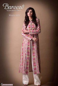 Latest Pakistani Fashion,Bollywood Fashion,Hollywood Fashion,Ladies Fashion,Men Fashion.: Bareeza Latest Winter Dresses Collection 2012 For Ladies. Printedlong jacket.